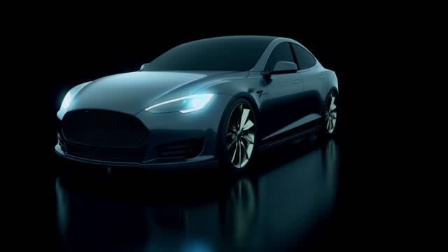 Concept 3d black car in studio shot