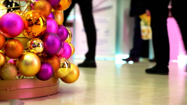 Concept Christmas Shopping - People Walking in Shopping Center at New Year's Eve video