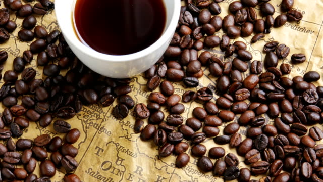 concept dolly shot Coffee beans around the map Turkey.