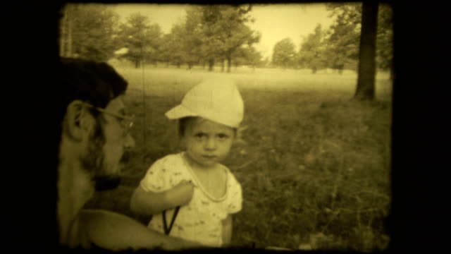 Concept family loving relationship father and son. Vintage selfie 8 mm film screen with 4 x 3 ratio video