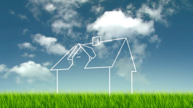 concept for dream house House on grass field symbolic for new home. loan stock videos & royalty-free footage
