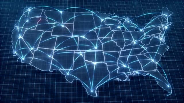 usa concept network. mappa. connessione. connessione. onda di influenza politica da washington dc. - cultura americana video stock e b–roll