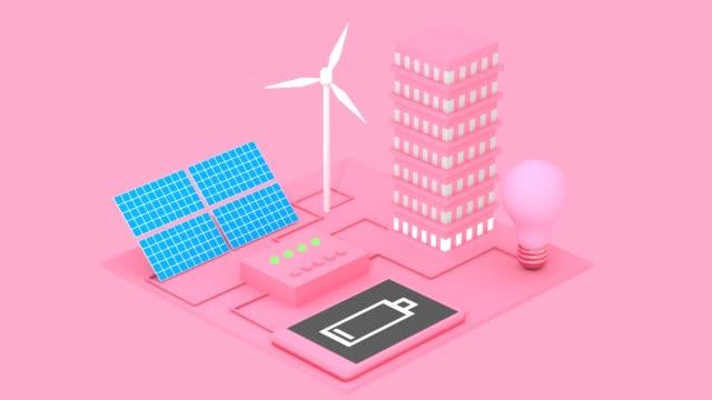stockvideo's en b-roll-footage met concept van alternatieve ecologische energiebronnen als zonnebatterijen en windmolens abstracte 3d-animatie - isometric