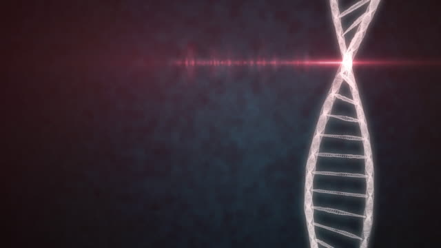 Concept of Biochemistry with DNA Molecule on blue background video