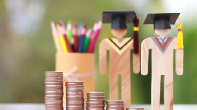 Concept of Budget for education learning scholarship financial fee payment, models people in university knowledge achievement for study abroad international have to money expensive for fees student