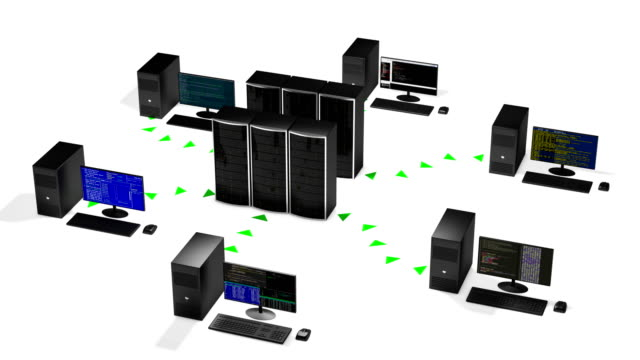 Concept of cloud data center hosting scheme, loop 3d animation concept of cloud data store in the room of a hosting provider or business office. All of workstations enters in a domain and backup information to the servers, seamless loop backup stock videos & royalty-free footage