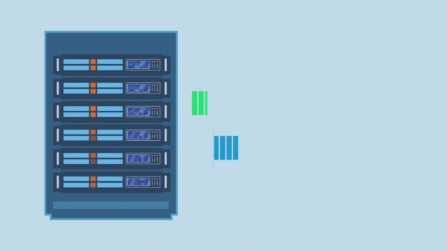 concept of computer network server rack sending and receiving data, concept of computer network and cloud computing, cartoon style animation, seamless loop, copy space, luma matte for background replacement backup stock videos & royalty-free footage