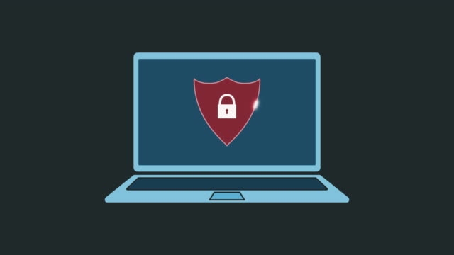 concept of computer security laptop computer with a loading bar and a shield with a padlock on screen, cartoon style, concept of computer security, luma matte for background replacement, seamless loop shield stock videos & royalty-free footage