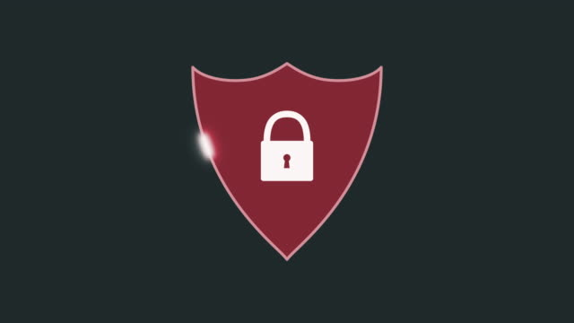 concept of computer security cartoon style animation of a shield with a padlock, concept of computer security, luma matte for background replacement shield stock videos & royalty-free footage