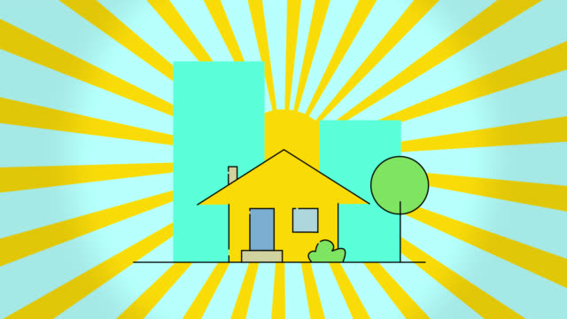 Concept of construction flat style house and rotation sun, isolated on blue background. Beautiful large building appearing on the background. New home, moving, real estate and relocation concept. Flat cartoon animation. Motion graphic animation.