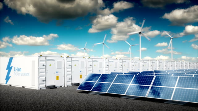 Concept of energy storage system. Concept of energy storage system.Concept of energy storage system. Renewable energy power plants - photovoltaics, wind turbine farm and  battery container. 3d rendering. power stock videos & royalty-free footage