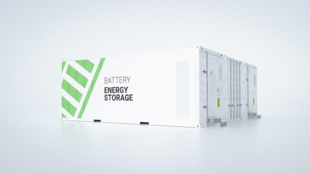 konzept der energiespeicher - mehrere angeschlossene behälter mit batterien. 3d rendnering. - lagerraum stock-videos und b-roll-filmmaterial