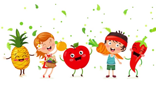 Concept Of Healthy Eating With Funny Characters