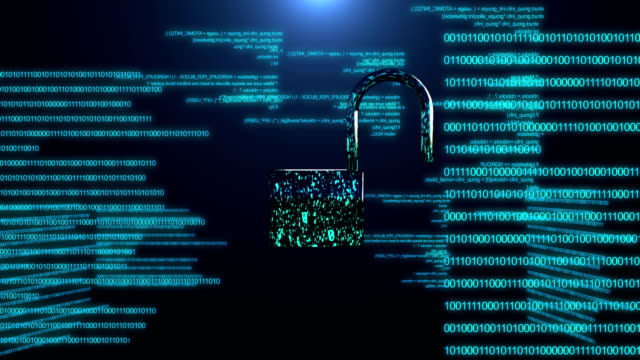 Concept of internet security. Closing digital padlock made with data and code. Technology and internet security. padlock stock videos & royalty-free footage