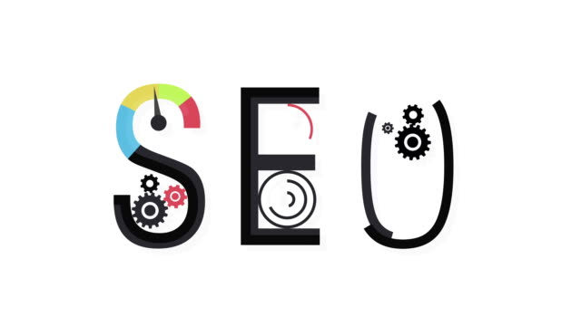 Concept of SEO word combined from elements and icons video