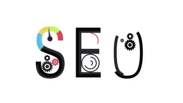 vídeos y material grabado en eventos de stock de concepto de seo palabra combinado de elementos e iconos - seo