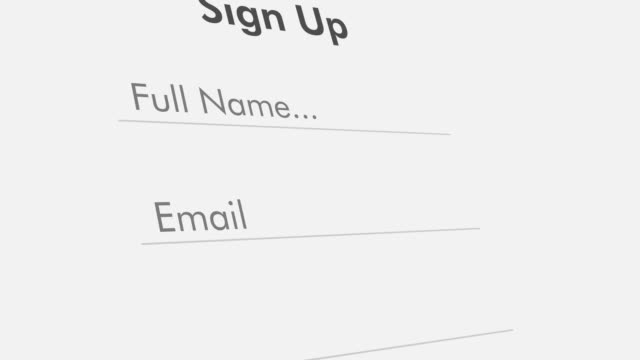 concept of sign up close up view of a form template for sign up to online services, flat style register stock videos & royalty-free footage