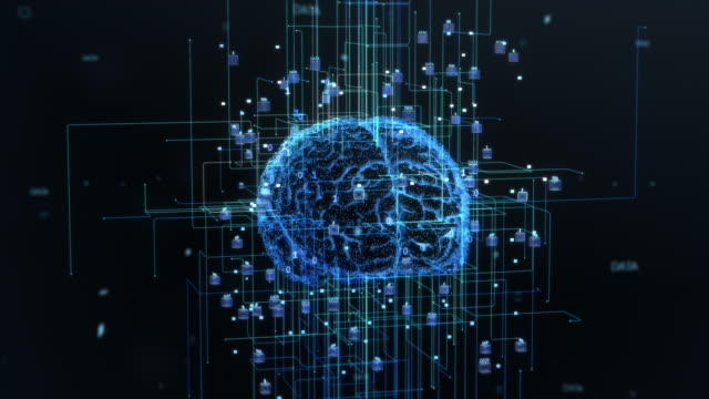 Concept of the Digital Brain of Artificial Intelligence Machine, with Symmetrical Streams of Information and Data Growing Out of the Brain. Concept of the Digital Brain of Artificial Intelligence Machine, with Symmetrical Streams of Information and Data Growing Out of the Brain. brain stock videos & royalty-free footage