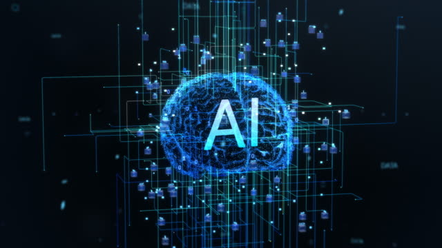 concept of the digital brain of artificial intelligence machine, with symmetrical streams of information and data going through electronic neurones. - apprendimento automatico video stock e b–roll