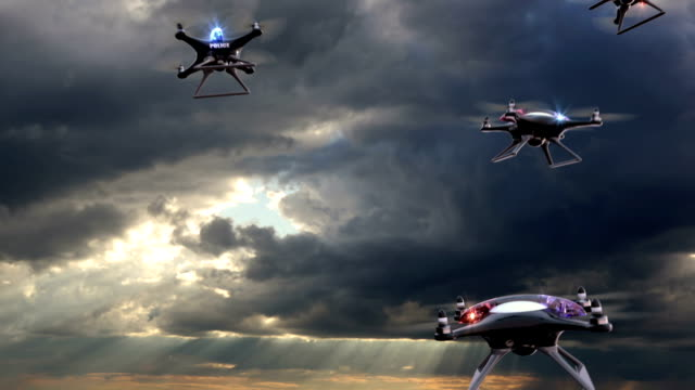 Concept of the future. Police drones take off video