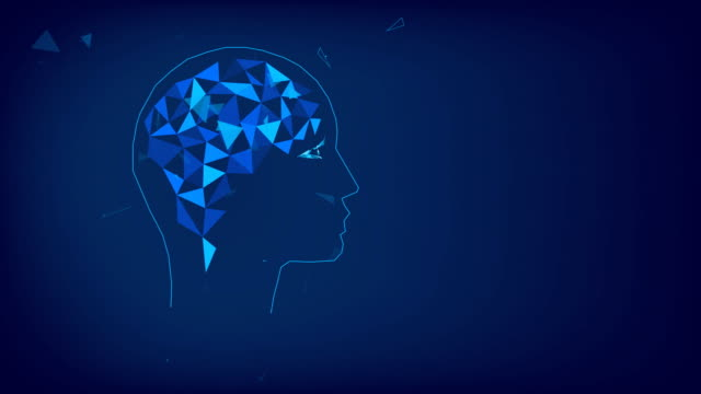 Concept of thinking human, visualization of process of thinking. Silhouette of polygonal head and brain. Polygonal animation of triangles. Blue. Low poly.