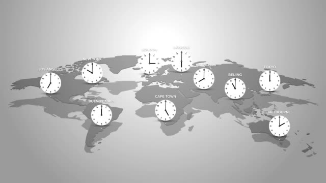 concept of time zones on planet earth with selected big cities and clock Modern style concept of time zones on planet earth with selected big cities and clock time zone stock videos & royalty-free footage