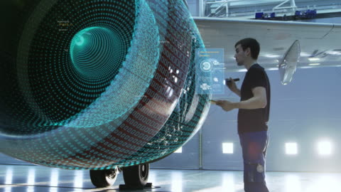 begriff: visualisierung der futuristischen flugzeugwartung motor unter der leitung von ingenieur mit tablet-computer. animation der digitalisierung von analytics kontrolle optimale funktionieren des flugzeugs. - computergrafiken stock-videos und b-roll-filmmaterial