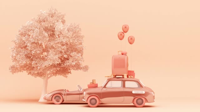 Concept retro car with luggage surrounded by travel equipment in pink color tone. 3d rendering