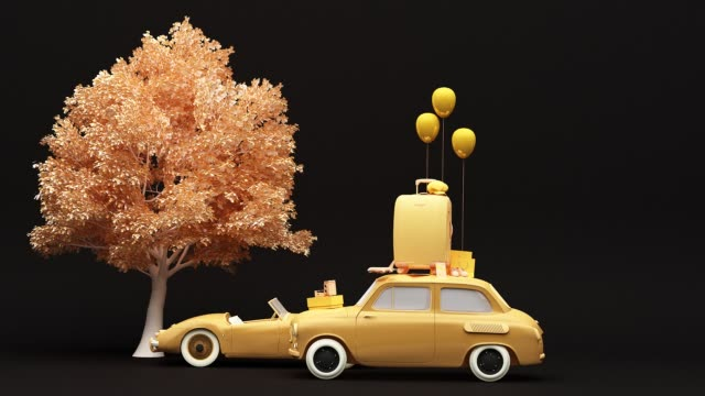 Concept retro car with luggage surrounded by travel equipment in yellow color tone. 3d rendering