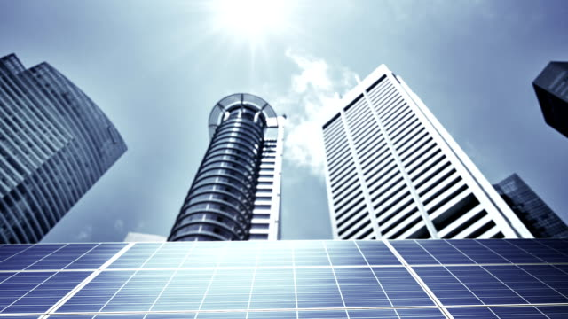 Concept solar panel and business city video
