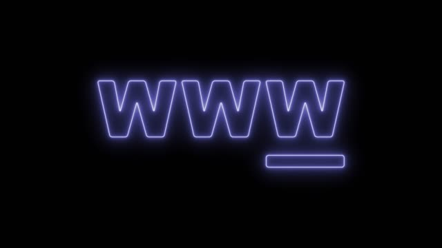 WWW concept symbol WWW concept symbol. Animated symbol icon 4K. Neon effect, linear and alpha channel. www stock videos & royalty-free footage