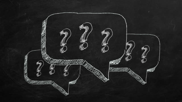 FAQ concept Hand drawing and animated question marks  on blackboard. Stop motion animation. faq stock videos & royalty-free footage