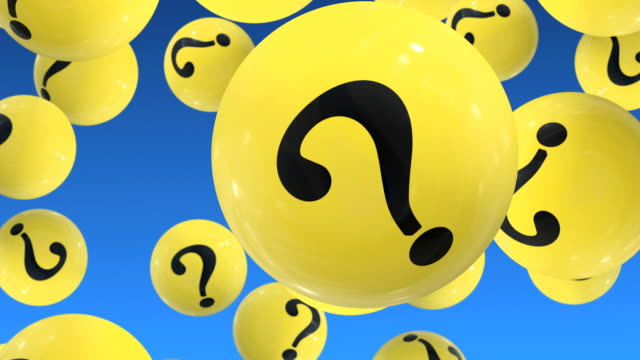 FAQ concept Flying Up  balls with question marks on blue. FAQ faq stock videos & royalty-free footage
