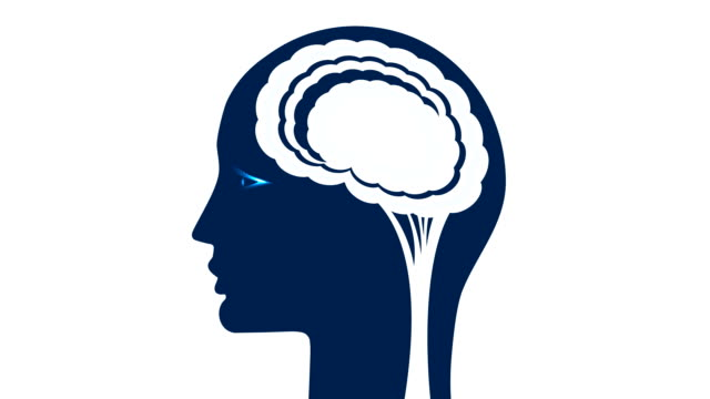 Conceptual animation of the working brain, the birth of thoughts in humans. Concept of thinking human, visualization of process of thinking