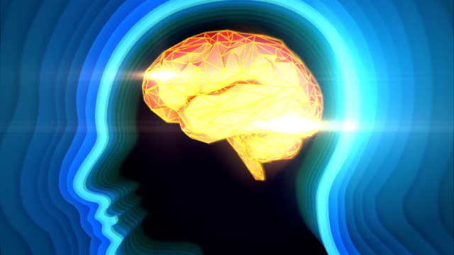 Conceptual animation showing neuronal activity in the human brain. Blue-Orange color.  Neuronal Activity. mental health stock videos & royalty-free footage