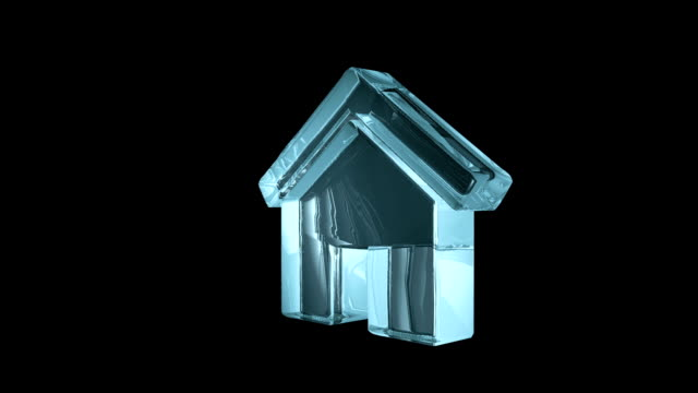 Conceptual dwelling symbol. Abstract transparent glass house icon Conceptual dwelling symbol. Abstract transparent glass house icon housing logo stock videos & royalty-free footage