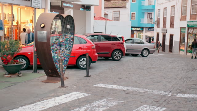 tenerife, canary islands, spain - january, 2019: conceptual garbage can heart-shaped for plastic nuts. education in environmental protection - earth day stock videos & royalty-free footage