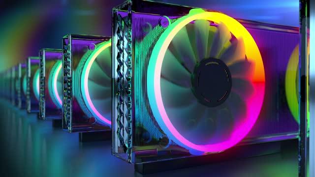 vídeos y material grabado en eventos de stock de una visión conceptual de las criptomonedas mineras con tarjetas gráficas. - imagen en bucle