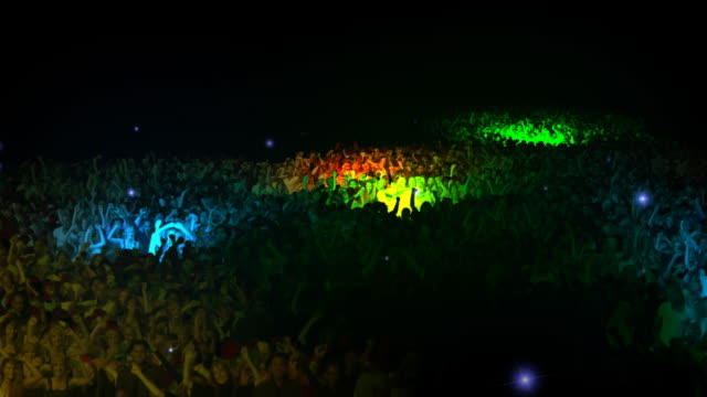 Concert People giant crowd Thousands of dancing and jumping people in concert arena with lights circling. Films and animation created exclusively for iStockphoto   hip hop stock videos & royalty-free footage