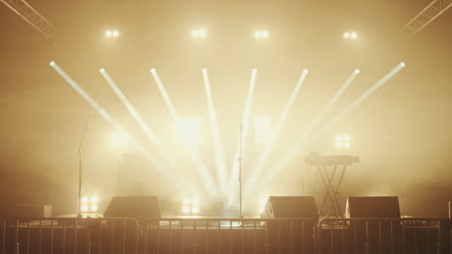 Concert stage Light Show on emtpy concert stage.   electric light stock videos & royalty-free footage