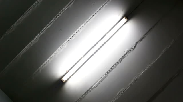 Concrete ceiling with fluorescent lamp, rotation 180 video video