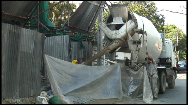 (HD1080) Concrete Delivery by Truck at Construction Site video
