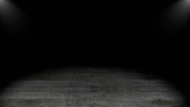 concrete floor with spot lights, 3d rendering computer generated backdrop, grunge style - studio camera video stock e b–roll