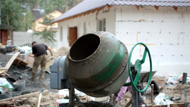 Concrete mixer at the construction site. video