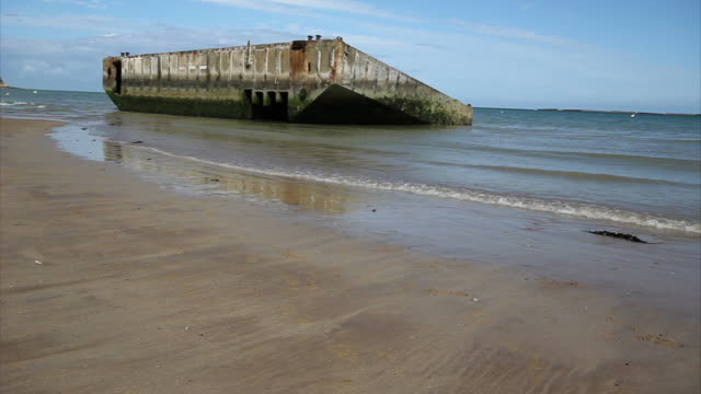 Concrete moll used in D-day, Normandy Concrete block to make a port, used in D-day normandy stock videos & royalty-free footage