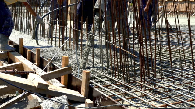 Concrete Pouring During Commercial Concreting Floors of Buildings at the Construction site