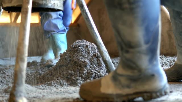 Concrete pump close up details. Sand and cement floor screed. Close up concrete pump. Sand and cement floor screed