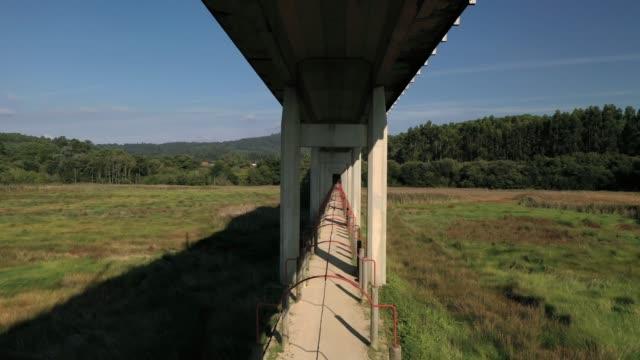 Concrete supports of the bridge, bottom view of the bridge