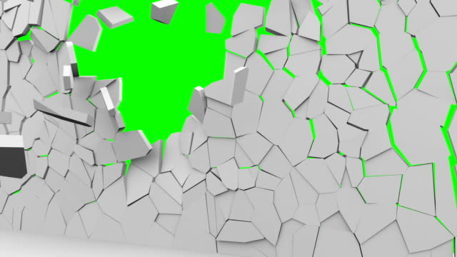vídeos de stock e filmes b-roll de concrete wall demolition chroma key footage. barricade crumbling to small pieces animation. foreground falling and revealing green screen background. barrier shuttering, collapse video - white wall