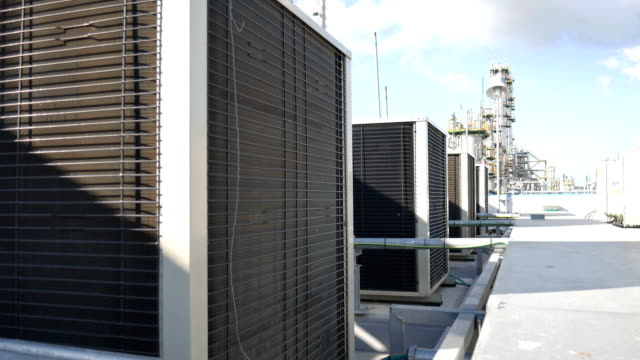 Condensing unit of air condition on top of building video